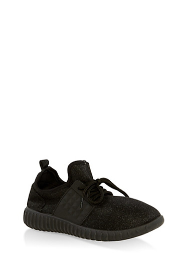 Girls 12-4 Shimmer Knit Lace Up Sneakers,BLACK,large