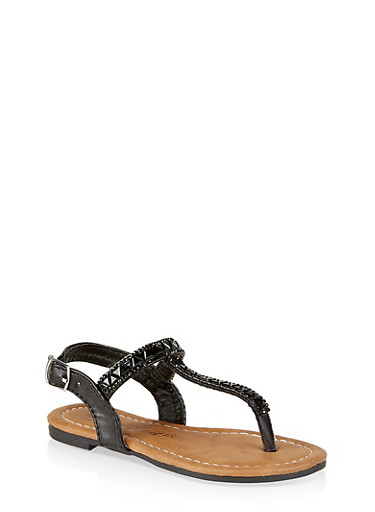 Girls 6-11 Jeweled Thong Sandals,BLACK,large
