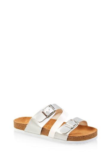 Girls 12-4 Triple Strap Footbed Sandals,SILVER,large
