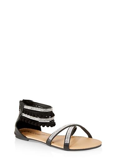 Girls 12-4 Rhinestone Criss Cross Sandals,BLACK,large