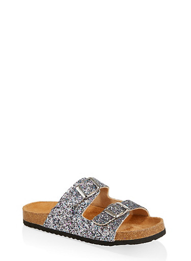 Girls 12-4 Glitter Buckle Strap Footbed Sandals,MAUVE,large