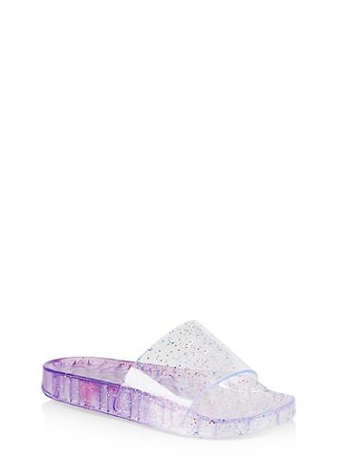 Girls 12-4 Glitter Jelly Pool Slides,LAVENDER,large