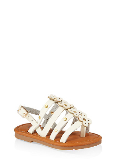 Girls 6-11 Studded Flower Sandals,WHITE,large