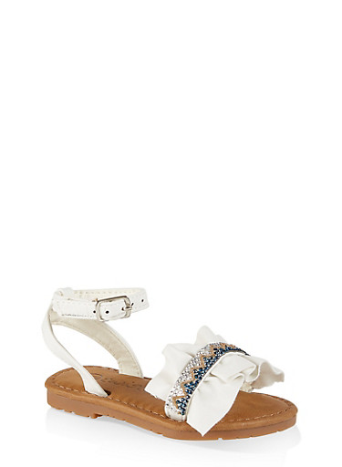 Girls 6-11 Rhinestone Ruffled Ankle Strap Sandals,WHITE,large
