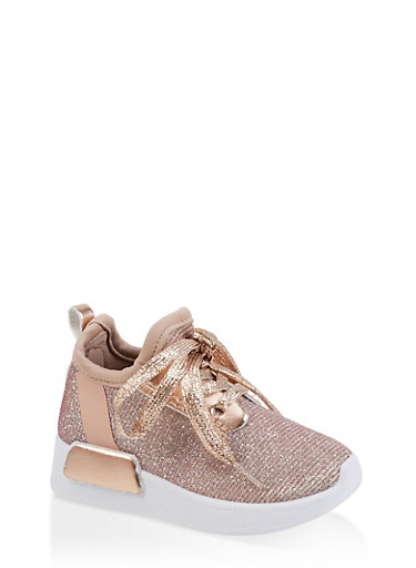 Girls 6-11 Glitter Knit Lace Up Sneakers,ROSE,large