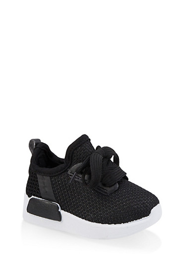 Girls 6-11 Knit Athletic Sneakers,BLACK,large