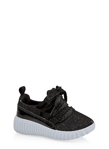 Girls 6-11 Shimmer Knit Lace Up Sneakers | 1737062720164,BLACK,large