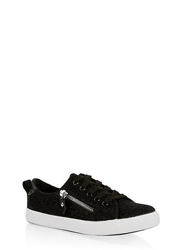 Girls 12-4 Side Zip Glitter Knit Sneakers,BLACK,large