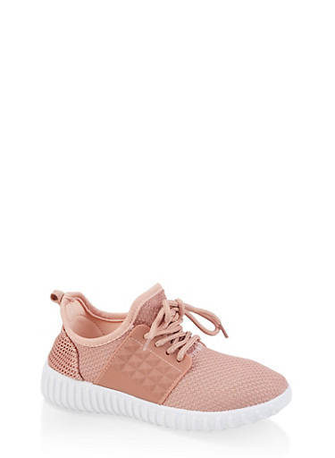 Girls 12-4 Knit Silicone Sneakers,ROSE,large