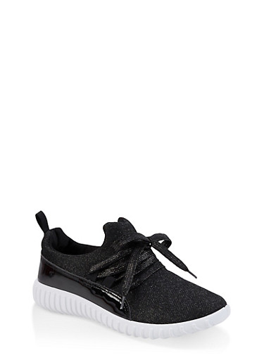 Girls 12-4 Lace Up Glitter Knit Sneakers,BLACK,large