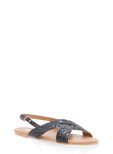 Girls 12-4 Glitter Criss Cross Sandals,BLACK,large