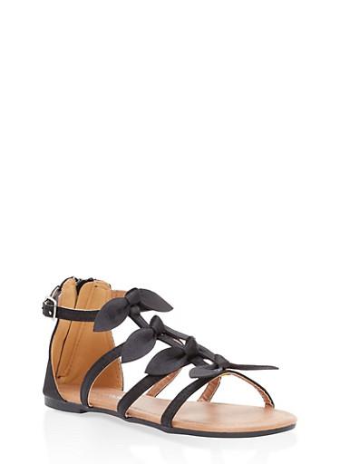 Girls 10-4 Bow Strap Zip Back Sandals,BLACK,large