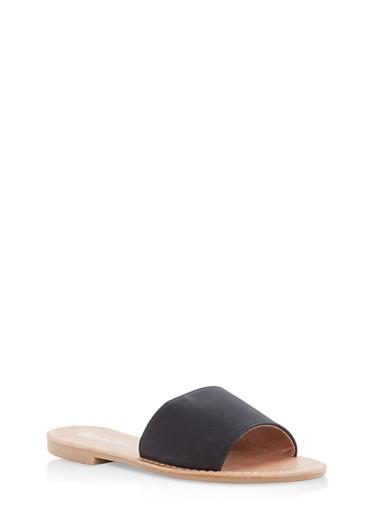 Girls 11-4 Faux Leather Slide Sandals,BLACK,large