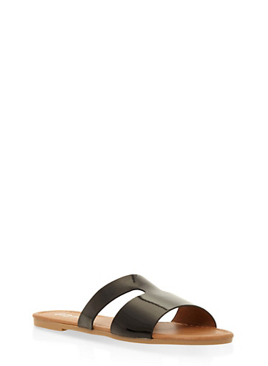 Girls 1-4 Cut Out Faux Leather Slide Sandals,BLACK,large