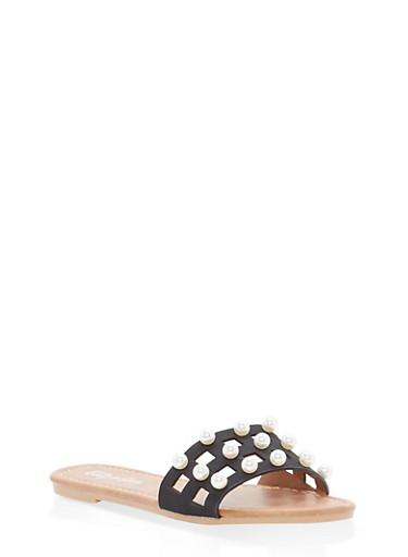 Girls 1-4 Faux Pearl Slide Sandals,BLACK,large