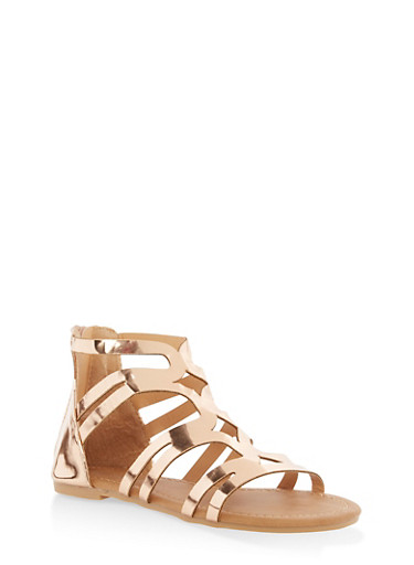 Girls 11-4 Metallic Strappy Sandals,GOLD S,large