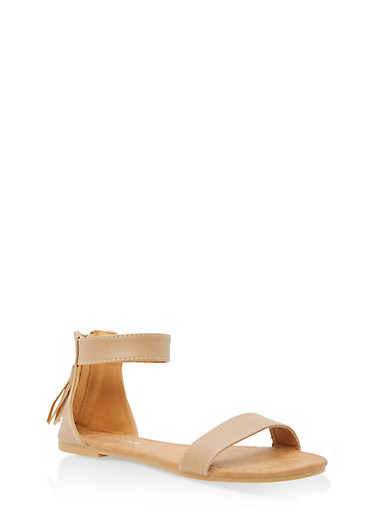Girls 11-4 Ankle Strap Sandals,TAN,large
