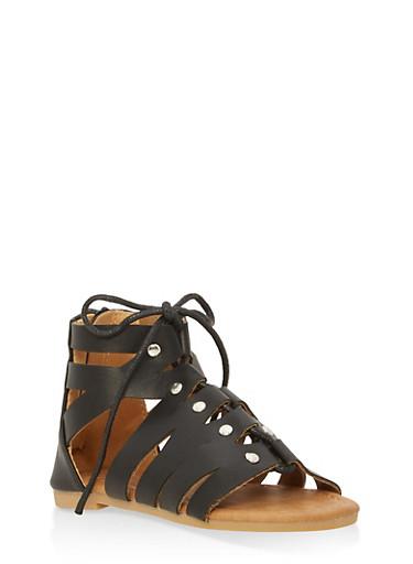 Girls 5-10 Lace Up Gladiator Sandals,BLACK,large