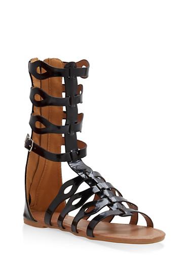 Girls 11-4 Tall Gladiator Sandals,BLACK,large