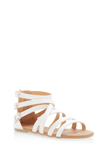 Girls 11-4 Multi Buckle Strappy Sandals,WHITE,large
