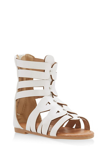 Girls 5-10 Studded Gladiator Sandals,WHITE,large