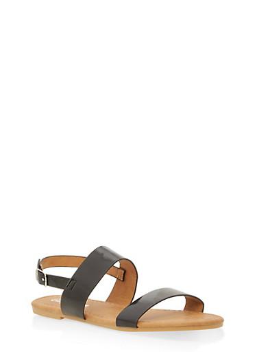 Girls 11-4 Faux Patent Leather Strap Sandals,BLACK,large