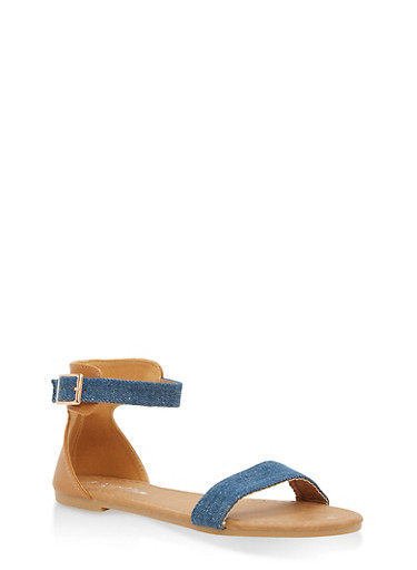 Girls 11-4 Denim Strap Sandals,BLUE,large