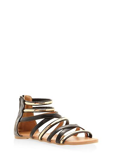 Girls 11-4 Metallic Strappy Sandals,BLACK,large