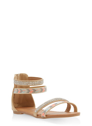 Girls 11-4 Aztec Rhinestone Strappy Sandals,TAN,large