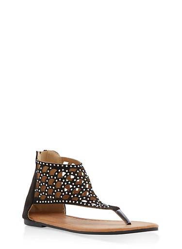 Girls 11-4 Laser Cut Rhinestone Thong Sandals,BLACK,large