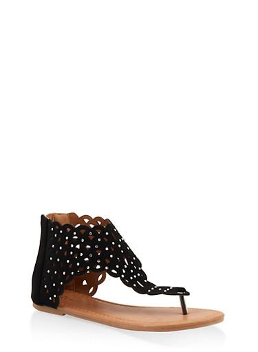 Girls 11-4 Rhinestone Studded Thong Sandals,BLACK,large