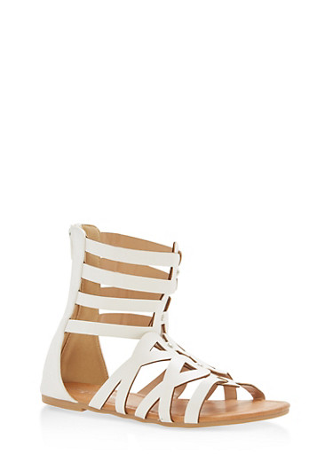 Girls 11-4 Strappy Studded Gladiator Sandals | Tuggl