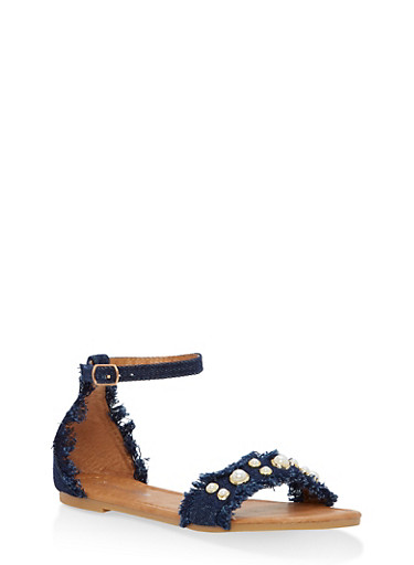 Girls 10-4 Faux Pearl Studded Denim Sandals,BLUE,large