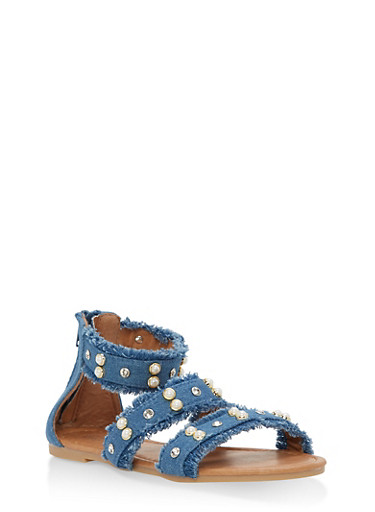Girls 10-4 Faux Pearl Frayed Denim Sandals,LIGHT WASH,large