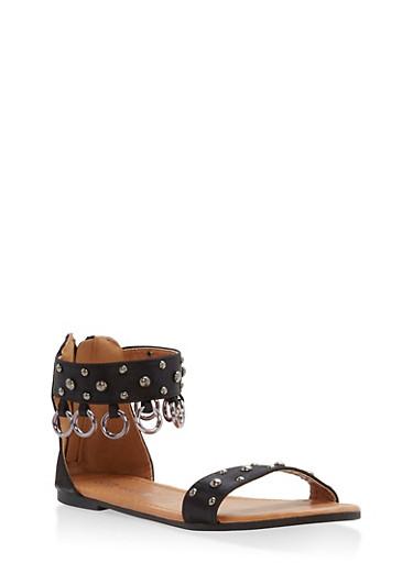 Girls 11-4 Studded Metallic Link Sandals,BLACK,large