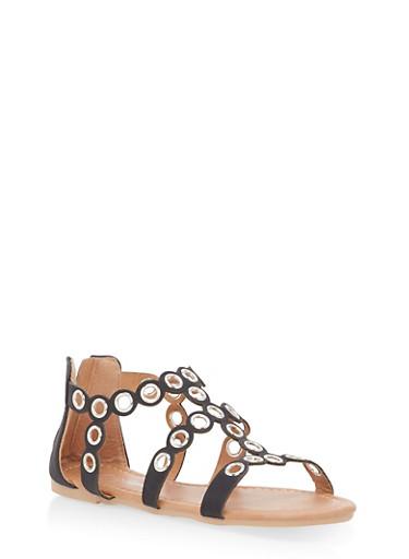 Girls 11-4 Scalloped Grommet Strap Sandals,BLACK,large