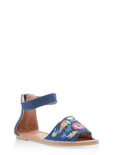 Girls 11-4 Denim Embroidered Ankle Strap Sandals,DENIM,large