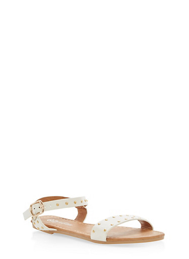 Girls 11-4 Studded Sandals,WHITE,large