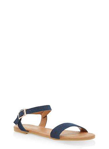 Girls 11-4 Ankle Strap Sandals,DENIM,large