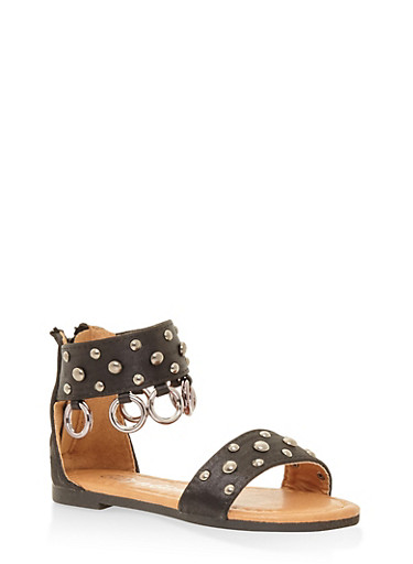 Girls 5-10 Studded Ankle Strap Sandals,BLACK,large