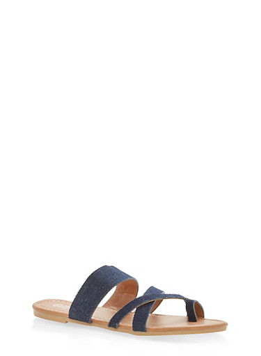 Girls 1-4 Strappy Toe Ring Sandals,DENIM,large