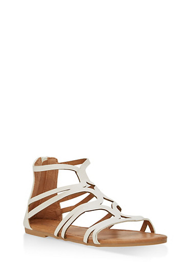 Girls 11-4 Strappy Laser Cut Sandals,WHITE,large