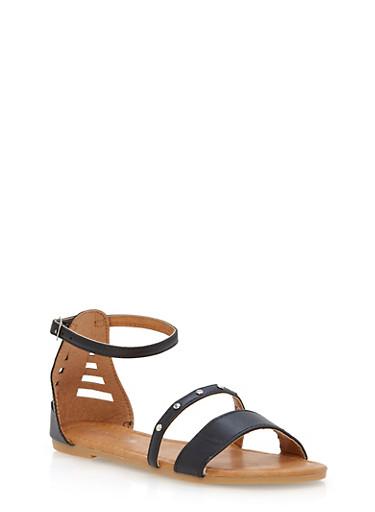 Girls 11-4 Studded Double Strap Sandals,BLACK,large