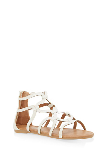 Girls 11-4 Linked Strappy Sandals,WHITE,large