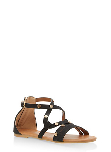 Girls 11-4 Strappy Studded Faux Leather Sandals,BLACK,large