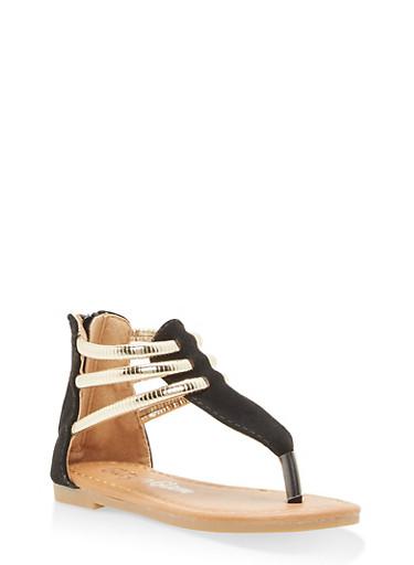 Girls 5-10 Metallic Strap Thong Sandals,BLACK,large