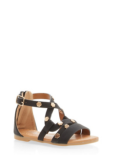 Girls 5-10 Studded Strappy Sandals | Tuggl