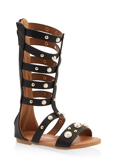 Girls 5-10 Faux Pearl Studded Gladiator Sandals,BLACK,large