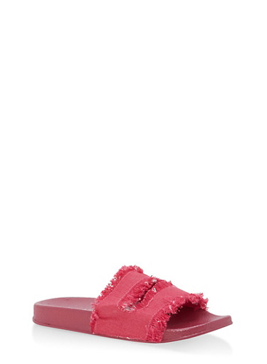 Girls 10-4 Frayed Denim Slides,FUCHSIA,large