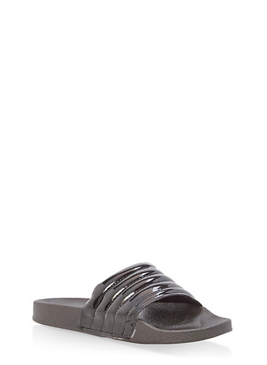Girls 11-4 Faux Patent Leather Slides,BLACK,large
